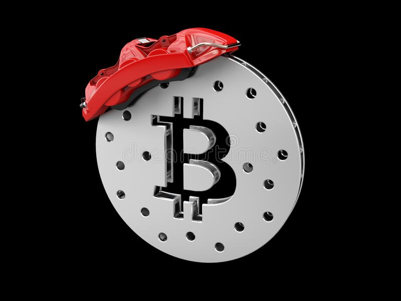 Break disc with silver bitcoin, isolated black 3d Illustration.  stock photography
