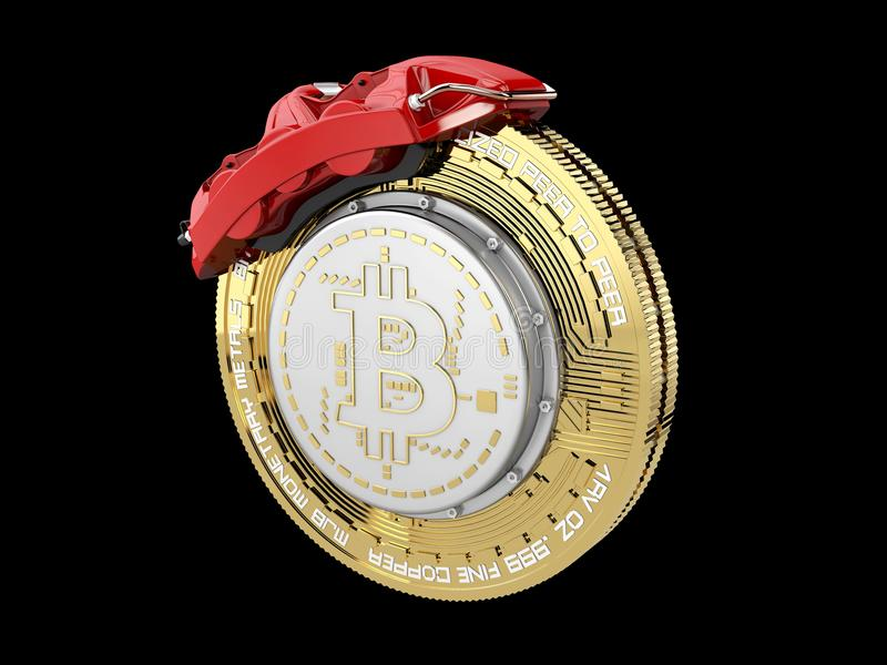 Break disc with silver bitcoin, isolated black 3d Illustration.  stock photos