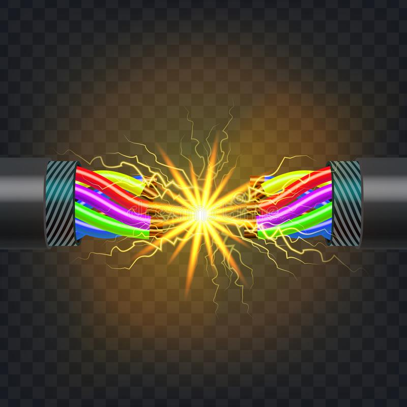 Electric Break Cable Vector. Electrical Circuit. Industrial Network Power. Glowing Lightning. 3D Realistic Isolated royalty free illustration