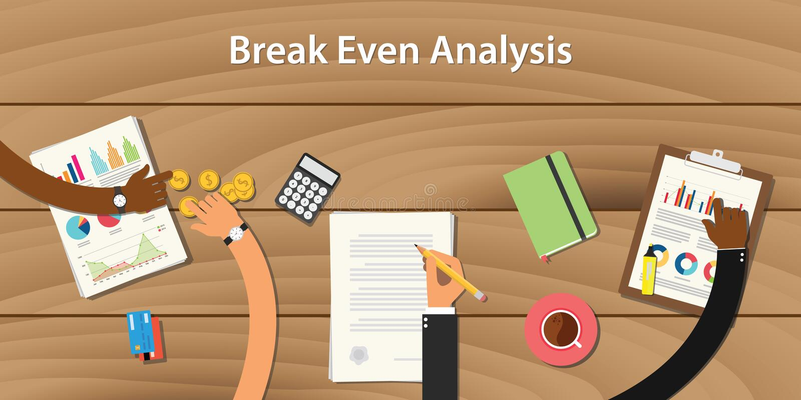 Break even analysis illustration with team work together money paper document stock illustration