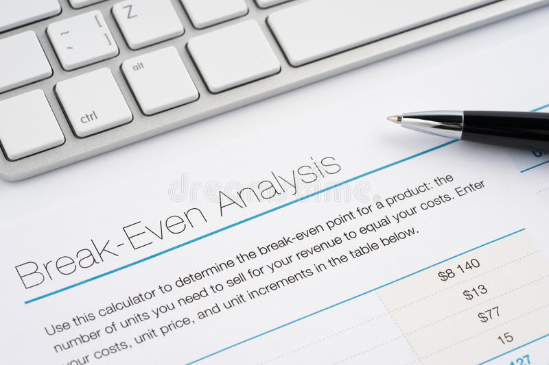 Break-even analysis stock image