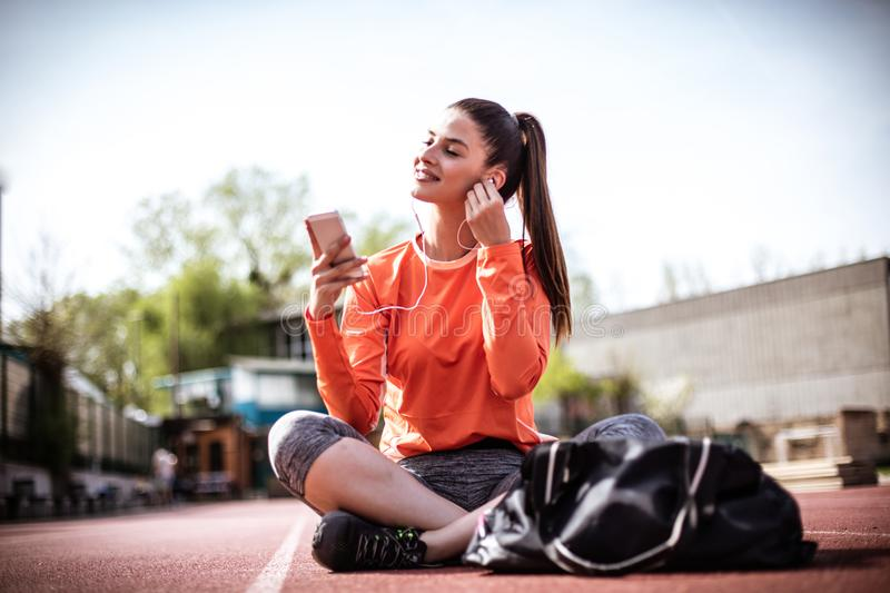 Break from exercise is best with music. royalty free stock images