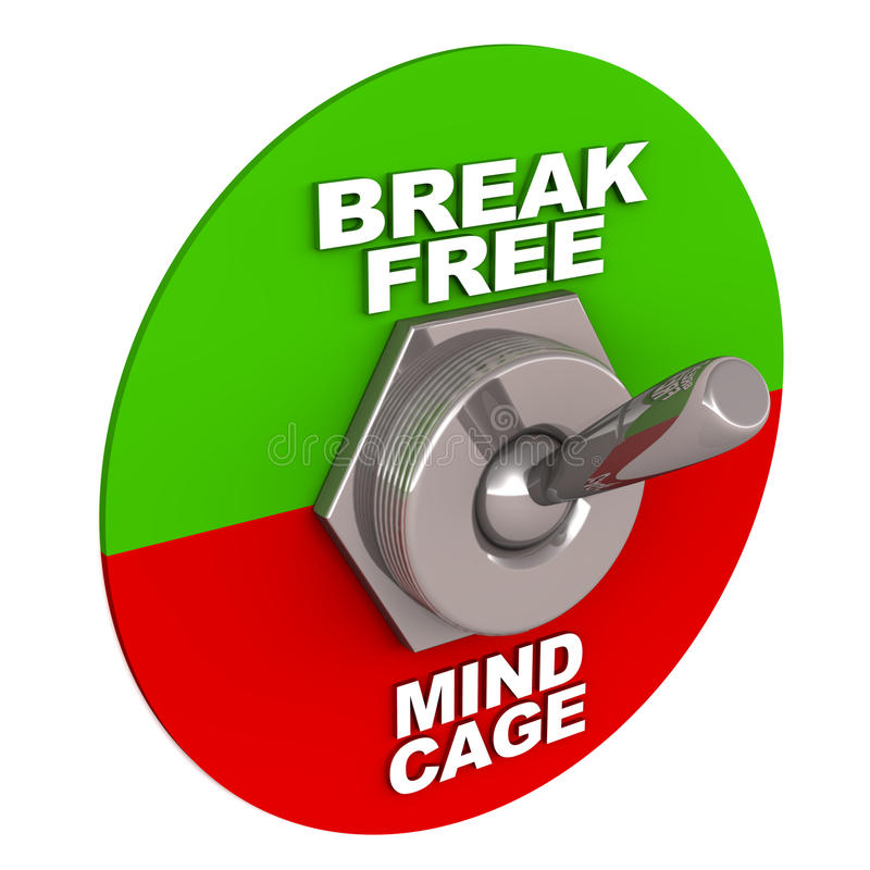 Break free. Breaking free of mind cage, switch flipped towards option of break free in green away from mind cage option in red, white background stock illustration