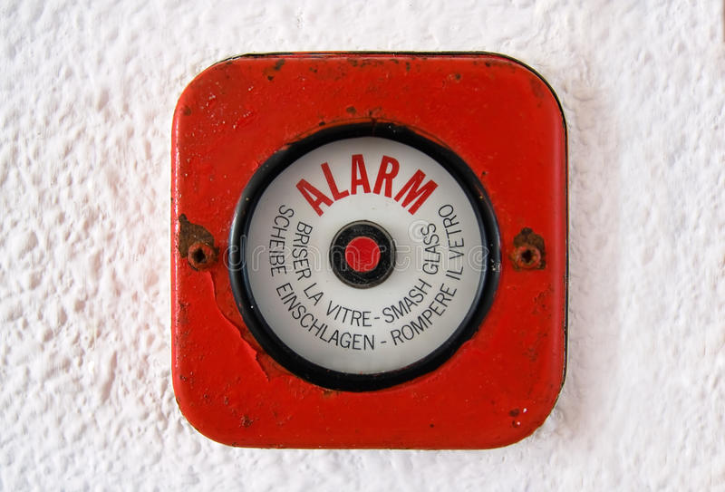 Break Glass - Old Fire Alarm stock image