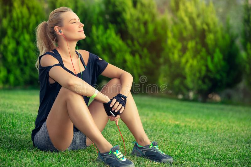 Break after good workout stock image