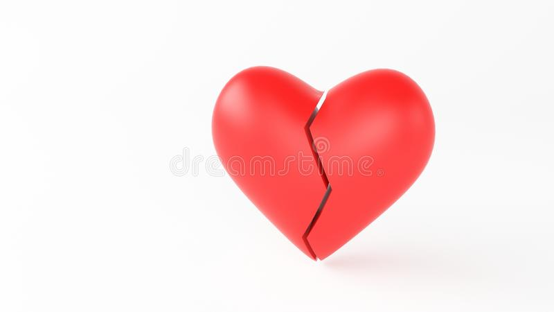 Break heart red. Heart break red 3d render stock photos