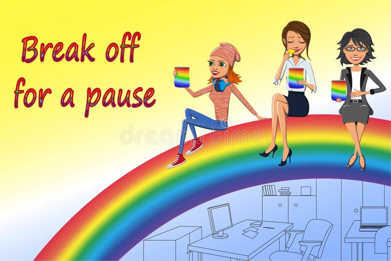 Break off for a pause. Three women of different ages are sitting on the rainbow during the break and onsuming delicious food stock illustration