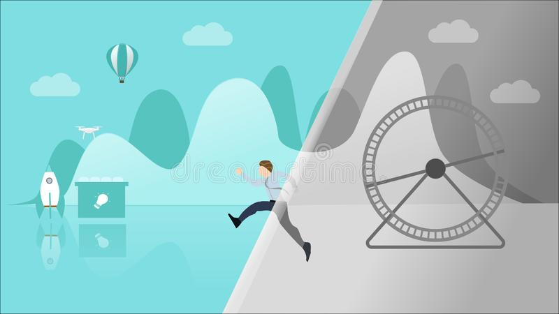 Break Out of Your Daily Routine or Comfort Zone or Old Job Concept to Experience Something New. Breaking The Routine. Schedule. Man Jump into New Colorful World vector illustration