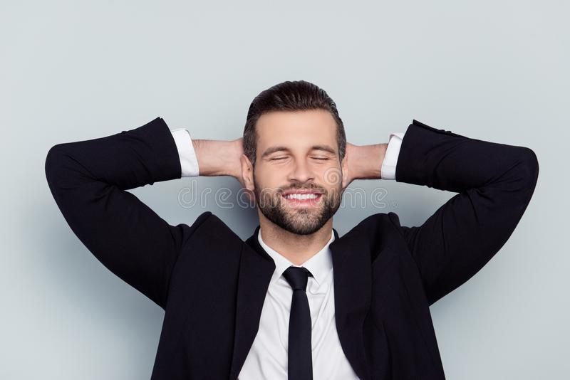 Break pause people holiday day-off manager freelancer employment. Boss staff employee concept. Close up portrait of cheerful excited handsome man relaxing plan royalty free stock photography