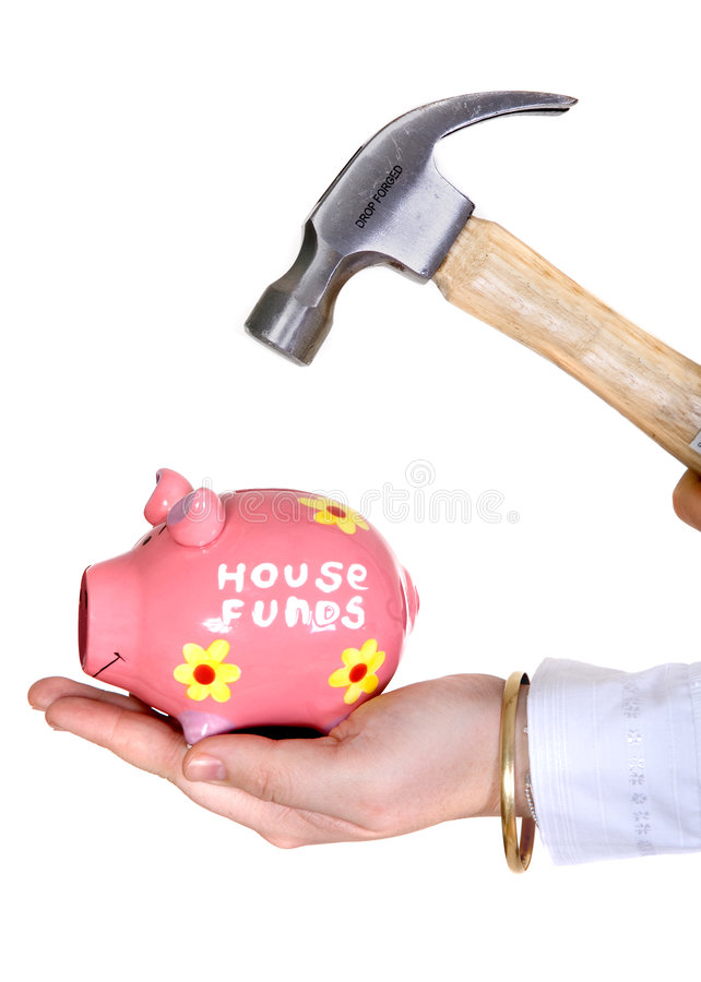 Download Break the piggy bank stock photo. Image of dollar, coins - 1680194