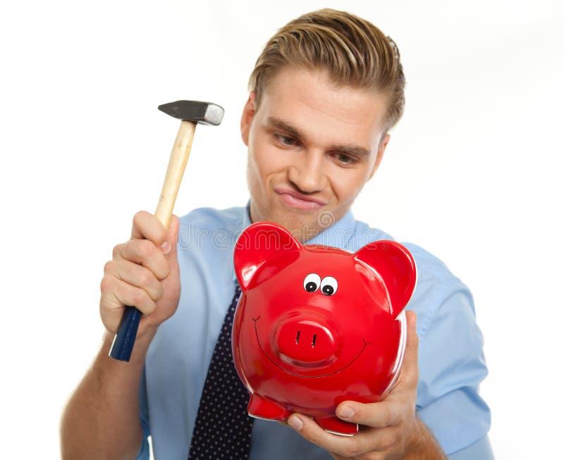 Download Break the piggybank stock photo. Image of isolated, handsome - 20885576