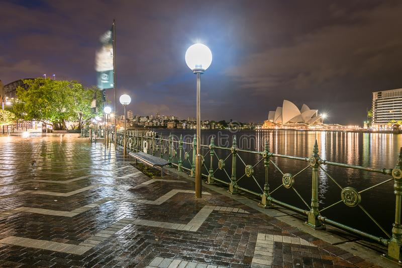 Night scene at Circular Quay royalty free stock photos