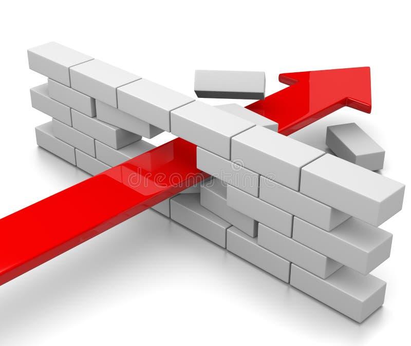 Break Through. Red Arrow Break Through the Wall on White Background 3D Illustration vector illustration
