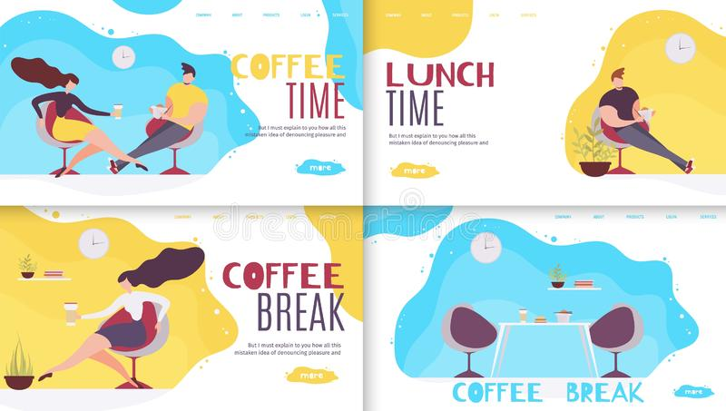 Break and Rest Time in Office Landing Page Set stock illustration