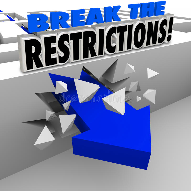 Break the Restrictions Arrow Crashing Maze Walls. Break the Restrictions words in 3d blue letters on a maze wall being crashed through by an arrow to illustrate stock illustration