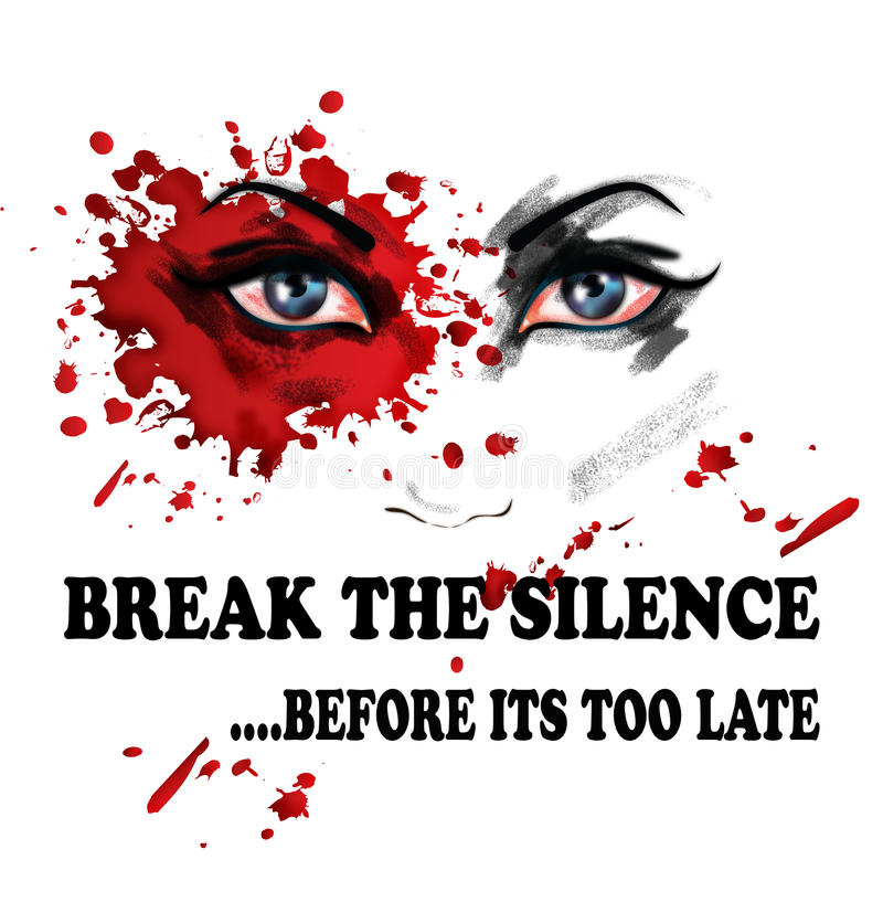 Break the silence for violence against women. An illustration featuring the face of a woman, her lips replaced with letters saying break the silence....before vector illustration