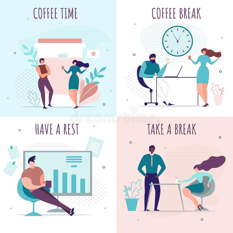 Break Time and Rest in Office Cartoon Cards Set royalty free illustration