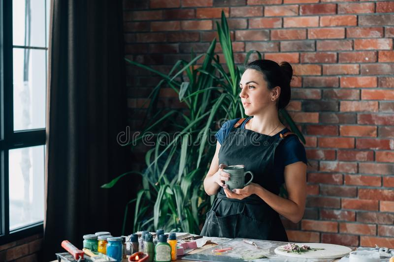Break time rest relaxation contemplation woman art royalty free stock images