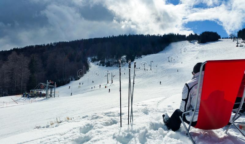 Break time. Ski resort in winter. Winter. Ski slope. Sport activities royalty free stock image