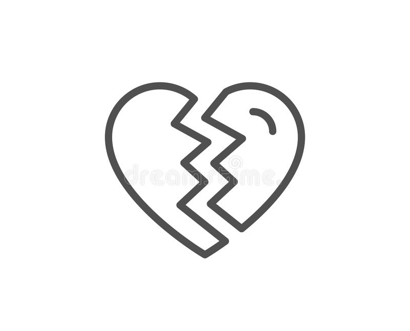 Break up Love line icon. Divorce sign. vector illustration