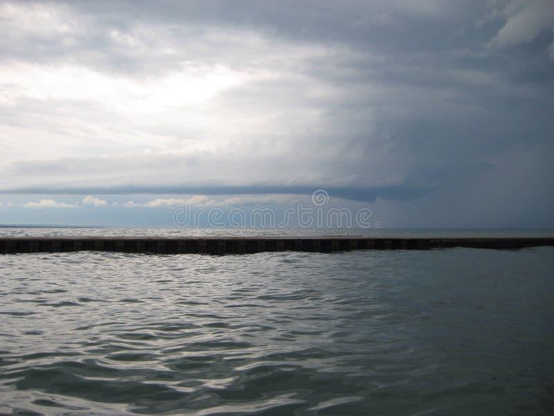 Lake breakwater stock photo