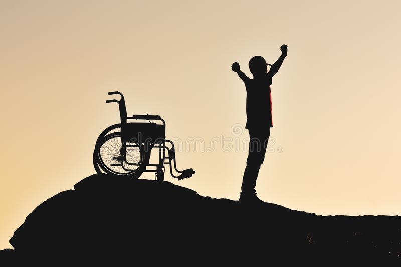 Happy morning in nature and freedom for disabled stock photos