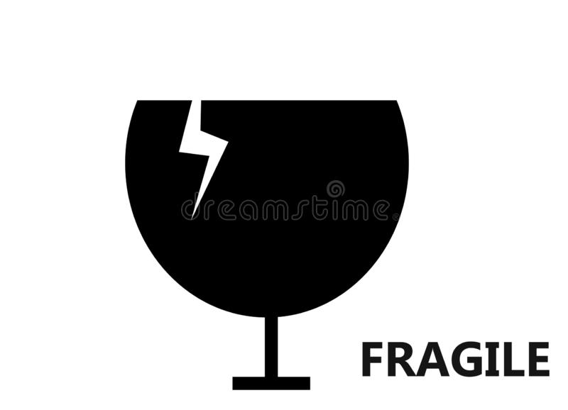 Breakable of fragile material packaging symbol on white background. Breakable fragile material packaging symbol white background text word retro black drawing stock photography