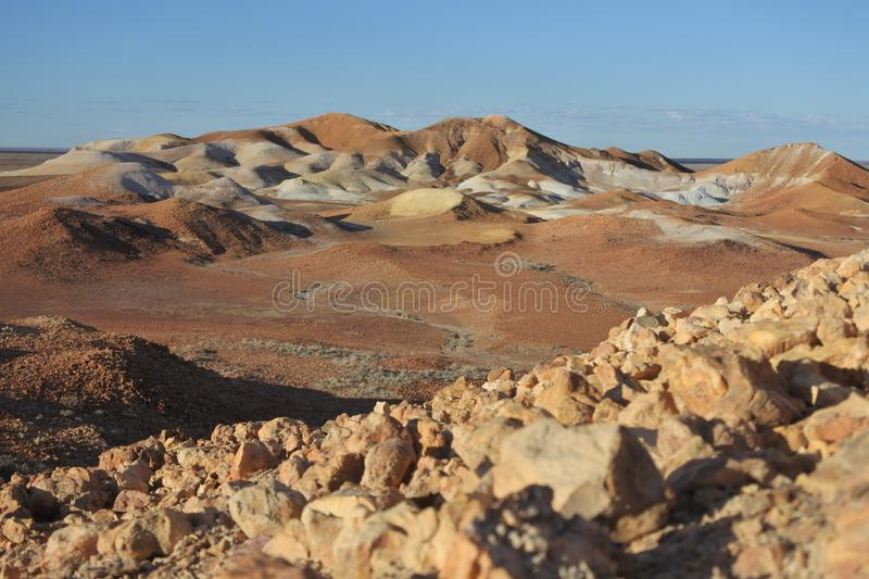 The Breakaways Reserve near Coober Pedy, South Australia. Landscape view of The Breakaways Reserve near Coober Pedy, South Australia royalty free stock image