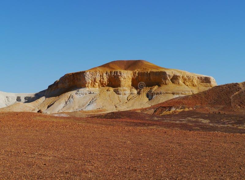 Breakaways. A striking rocky landscape of flat topped mesas called the breakaways near Cooper Pedy in Australian royalty free stock photos