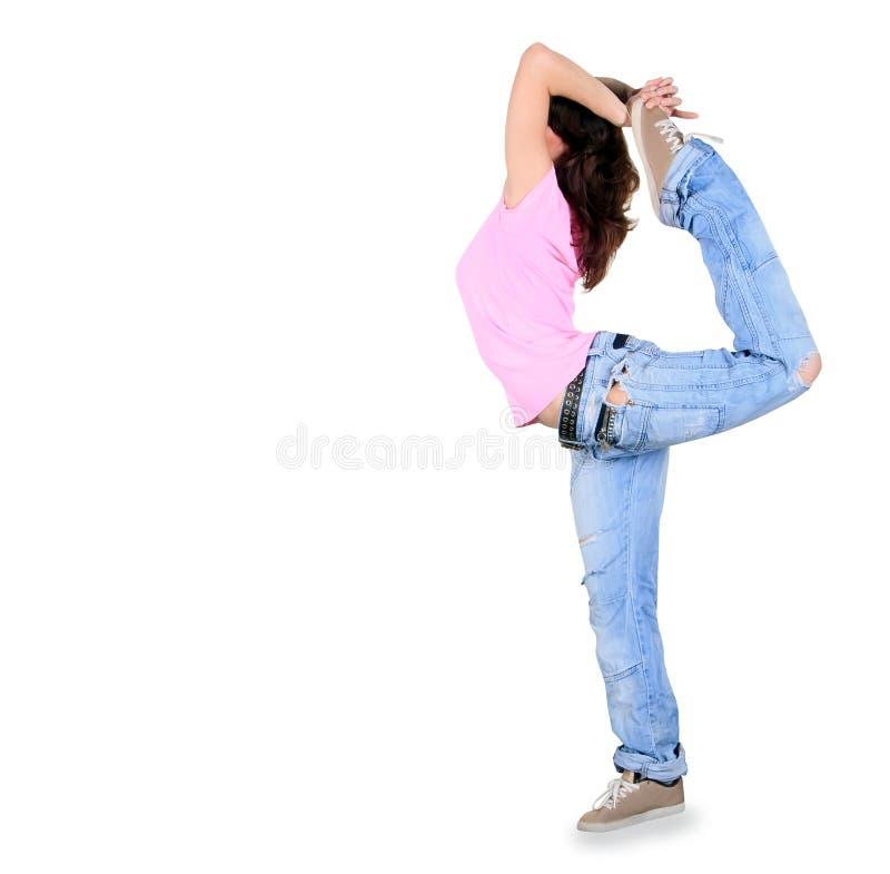 Breakdance da dança do adolescente na ação fotografia de stock