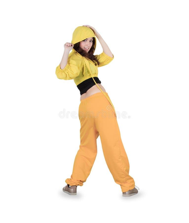 Breakdance da dança do adolescente no branco da ação imagem de stock