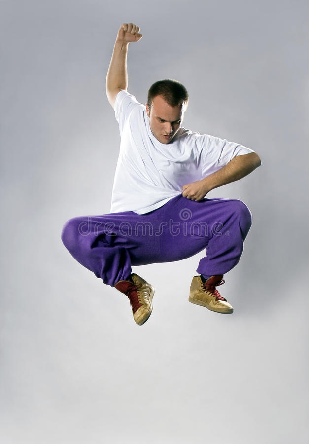 Breakdance da dança do adolescente no salto foto de stock