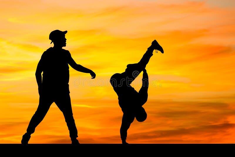 Boys dancing Breakdance performers royalty free illustration