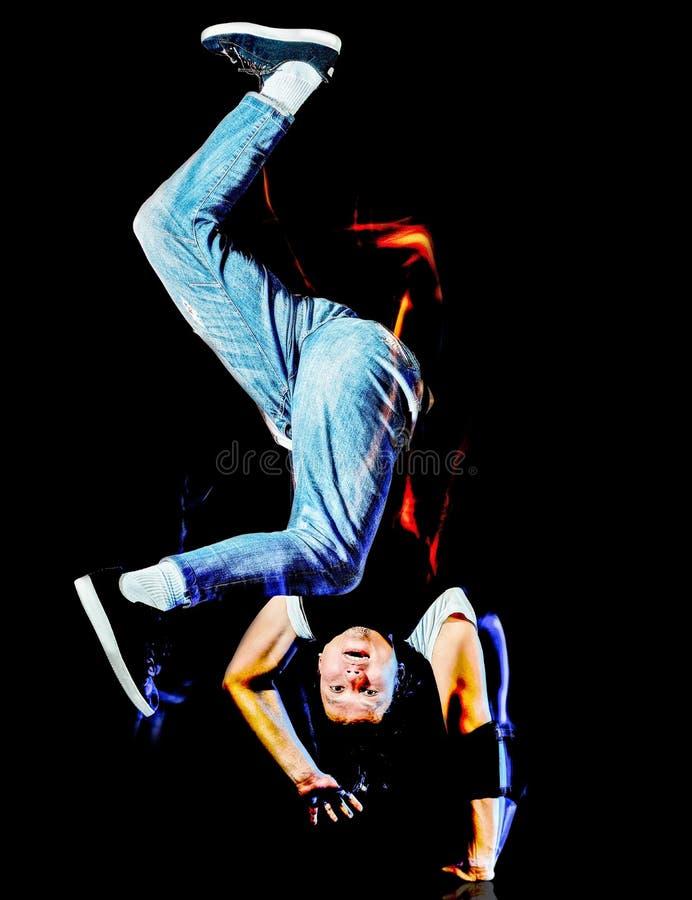 Breakdancer ballante del ballerino hip-hop della rottura del giovane che breakdancing immagine stock