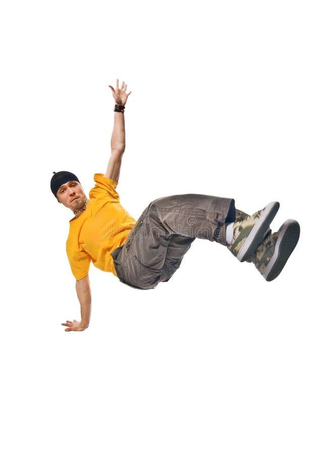 breakdancer de fond frais effectuant à l'extérieur le blanc photo libre de droits