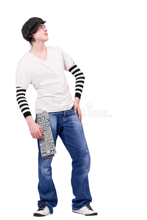 Breakdancer do adolescente que olha acima imagens de stock
