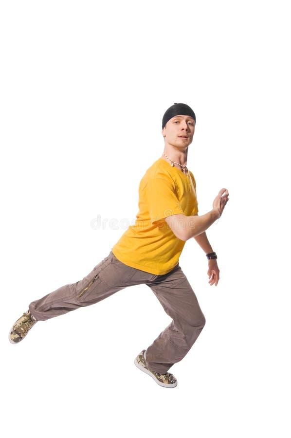Breakdancer fresco que faz para fora no fundo branco fotografia de stock