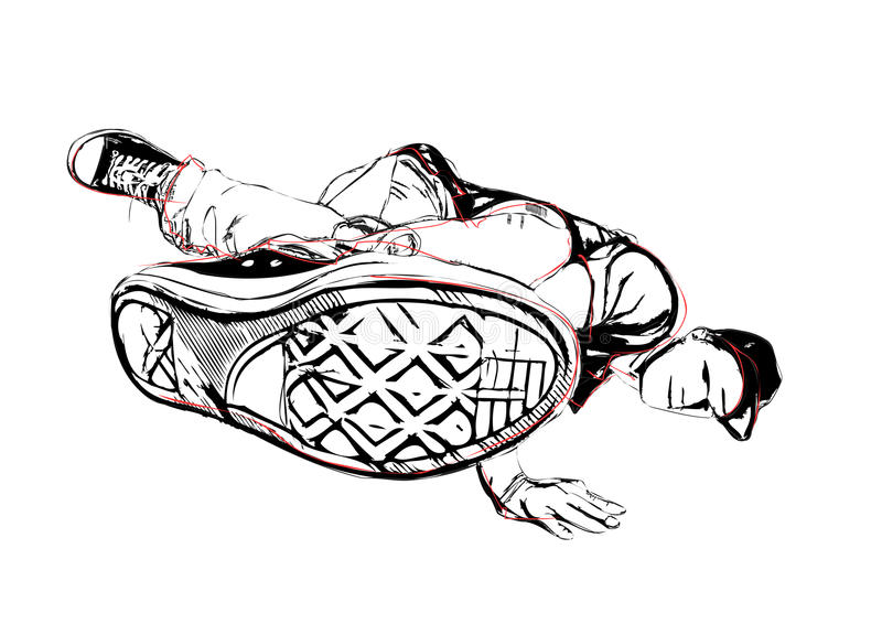 Breakdancer illustration. Illustration of breakdancer on white royalty free illustration