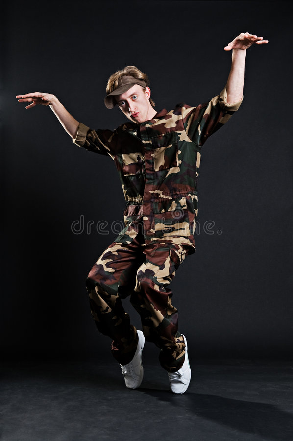 Download Breakdancer In Military Uniform Stock Photography - Image: 7466622