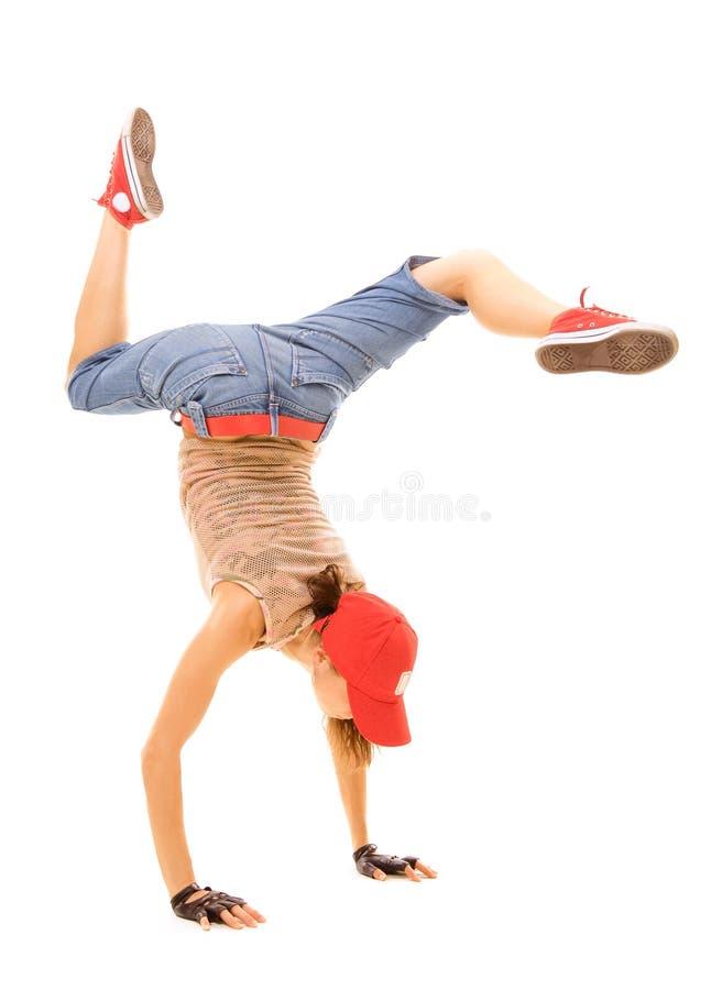 Breakdancer que está no gelo fotografia de stock royalty free