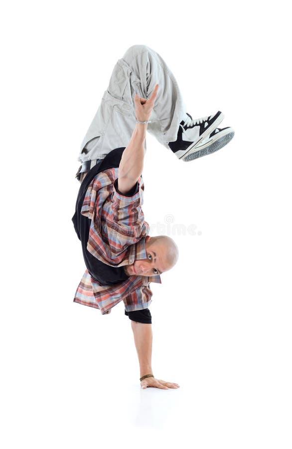 Breakdancer se coloca por un lado y destaca foto de archivo libre de regalías