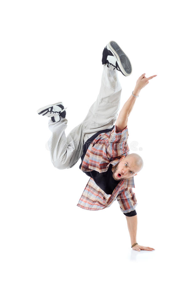 Breakdancer se coloca por un lado y grita fotos de archivo