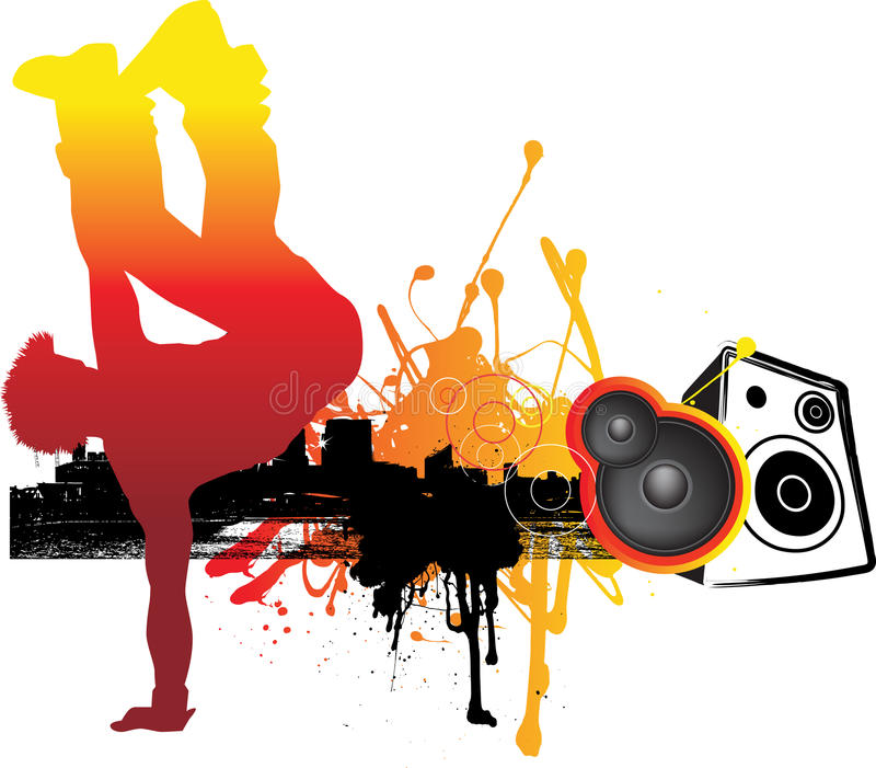 Breakdancer in stad vector illustratie