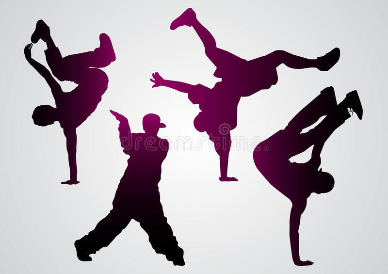 Breakdancers czerni sylwetki ilustracji