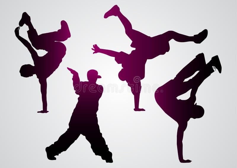 Breakdancers svartkonturer stock illustrationer