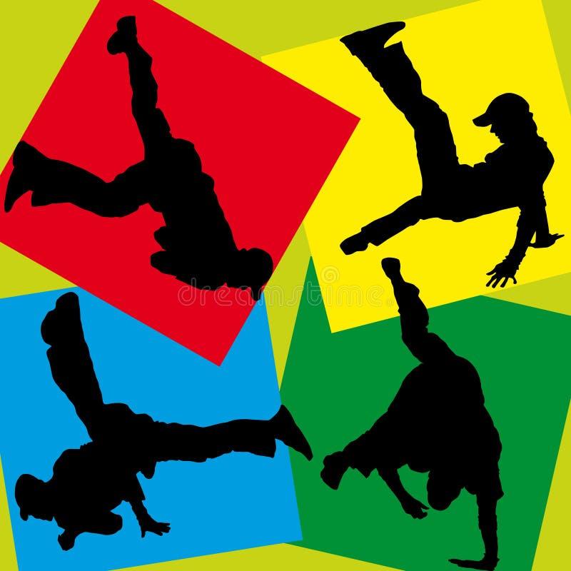 breakdancers sylwetki ilustracji