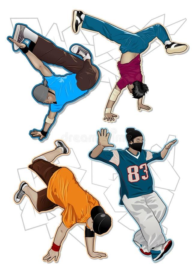breakdancers ustawiający wektor royalty ilustracja