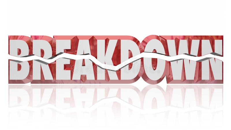 Breakdown Broken 3d Red Word Defect Problem. Breakdown red 3d word to illustrate a problem, issue, defect or flaw causing a product or system to break and need royalty free stock image