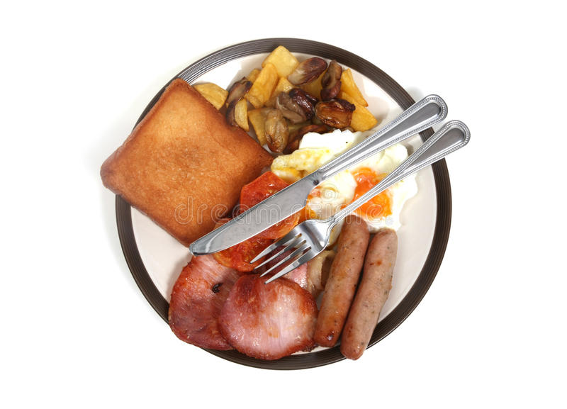Breakfast. Bird's eye view of a hearty english breakfast stock illustration