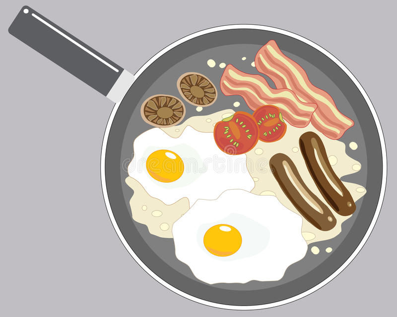 Breakfast. An illustration of a large pan with a breakfast of eggs mushrooms tomatoes bacon and sausage frying in oil royalty free illustration